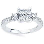 Sterling Silver Princess-cut Cubic Zirconia Cluster Ring