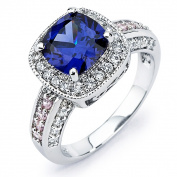 Sterling Silver Blue, Pink and White Cubic Zirconia Engagement-style Ring