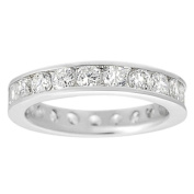 Journee Collection Silvertone Channel-set Cubic Zirconia Ring