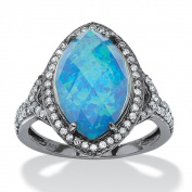 PalmBeach Black Ruthenium-plated Sterling Silver 6 5/8ct Marquise Simulated Opal and Cubic Zirconia Halo Ring Colour Fun