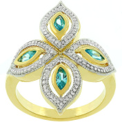Kate Bissett 14k Goldplated Aqua Luxe Crystal Clover Ring