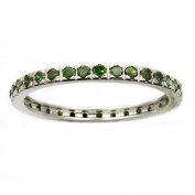 Beverly Hills Charm 14k White Gold 1/2ct TDW Green Diamonds Eternity Stackable Band Ring