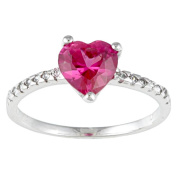 Kate Bissett White and Pink Cubic Zirconia Heart Ring