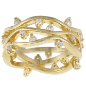Kate Bissett Goldtone White Round-cut Cubic Zirconia Band