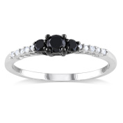 Miadora Sterling Silver 1/3ct TDW Black-and-white Prong-set Diamond Ring