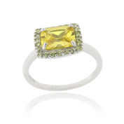 Icz Stonez Sterling Silver Light Yellow Cubic Zirconia Ring