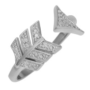 Fremada Rhodium Plated Sterling Silver Diamond Accent Arrow Ring