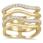 Marquee Jewels 3/8 Carat Diamond Double Row Ring in 10K Yellow Gold I-J, I2-I3)