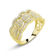Goldplated Sterling Silver Micropave Cubic Zirconia Scalloped Ring
