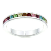 City by City City Style Silvertone Multi-coloured Cubic Zirconia Eternity Band