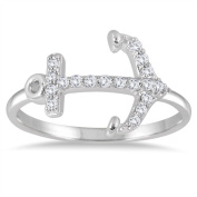 Marquee Jewels 1/5 Carat Diamond Anchor Ring in 14K White Gold