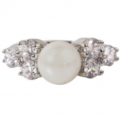 Nexte Jewellery Faux Pearl Ring with Round Cubic Zirconia Accent Stones