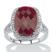 PalmBeach Rhodium-plated Sterling Silver 7 1/4ct Checkerboard-cut Oval Ruby Ring