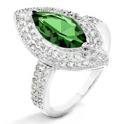 ELYA Sterling Silver Green Marquise Cubic Zirconia Halo Ring