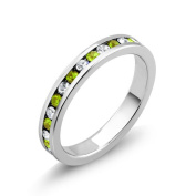 Rhodium-plated Cubic Zirconia Peridot and Clear August Birthstone Eternity Band