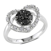 Miadora Sterling Silver 1/2ct TDW Black and White Diamond Heart Ring