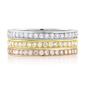 Rhodium-plated/ Goldplated/ Rose-plated Triple Stackable Pave-set Cubic Zirconia Ring
