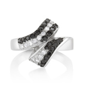 925 Sterling Silver Black and White Cubic Zirconia Designed Ring