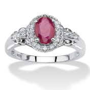 PalmBeach Rhodium-plated Sterling Silver 1 1/5ct Oval-cut Ruby and Topaz Halo Cocktail Ring