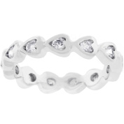Kate Bissett Silvertone Heart Eternity Stackable Cubic Zirconia Ring