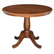 International Concepts 90cm Round Extension Table with 30cm Leaf - Standard Height in Espresso