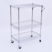 60cm Portable Rolling Wire Basket Kitchen Storage Trolley