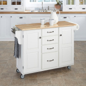 Create-A-Cart Large Cart - White Finish with Wood Top