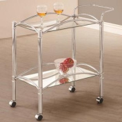 Chrome 2-Tray Rolling Serving Cart Kitchen Carts with Mirrored Bottom Shelf and Casters