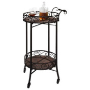 Dark Brown 2-Tier Portable Metal Kitchen Serving Cart / Wine Bar w/ Casters