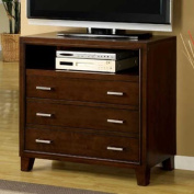 Enrico Traditional Cottage Style Brown Cherry Finish Media Chest