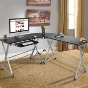 Wood L-Shape Corner Computer Desk PC Laptop Table Workstation Home Office Black