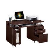 Deluxe Ergonomic All-In-One Super Storage Multi-Drawer Computer Desk - Chocolate