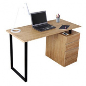 Modern Design Side Cabinet Compact Wooden Computer Desk - Pine