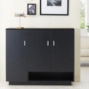 Graham Black Finish Storage Shoe Cabinet