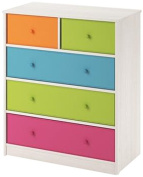 Applegate Enchanted Pine Storage Chest with 5 Multiple Colour Fabric Bins