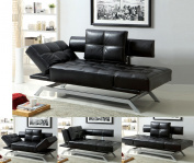 Contemporary Black Leatherette Functional Futon Sofa Chaise with Adjustable Arms Chrome Legs