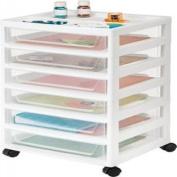 IRIS 6-Drawer Scrapbook Storage Cart with Organiser Top, White