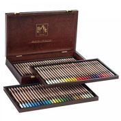 Set of 84 Pastel Pencils in a Wood Box