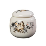 Chinese Style Ceramic Candy Can Tea Storage Container Stone and Bamboo