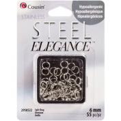 Stainless Steel Elegance Beads & Findings-6Mm Split Ring 55/Pkg