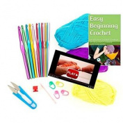 Dragonfly Corner Easy Beginning Crochet Kit Complete Ebook, Crochet Hooks, Yarn, Videos, Accessories & Bonus Tote Bag