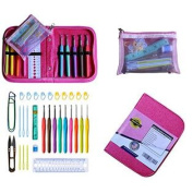 Best Crochet Hooks - Athena's Elements Deluxe Ergonomic Crochet Kit. Complete Accessories w/ Needle Case Organiser 9 Siz