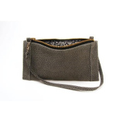 Leather Phone Clutch - Charcoal