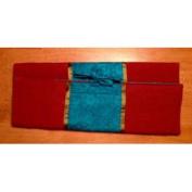 Combination Silk Knitting Needle Case-Turquoise/Burnt Orange