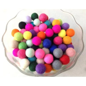Yarn Place Felt Balls - 100 Pure Wool Beads 25 mm Mixed Colourful Colours