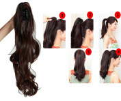 "Womens Ladies 18""(46cm) Curly Wrap Around Ponytail Clip in on Hair Extension Synthetic Hairpiece"