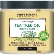 100% Natural Anti Fungal Tea Tree Oil Body & Foot Scrub 350ml with Dead Sea Salt - Best for Acne, Dandruff and Warts, Helps with Corns, Calluses, Athlete foot, Jock Itch & Body Odour