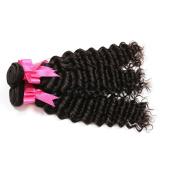 YanT Hair 8A Grade Brazilian Virgin Hair Deep Wave Human Hair Weave 3 Bundles 60cm Natural Black Colour Pack of 3