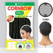 Amore Mio - CORNROW PRO CAP - Straight Back (with Combs) SMALL Mesh Weave Cap in OFF BLACK