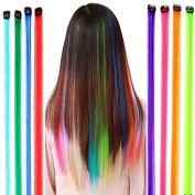 Healthcom 6 Coloured Clip on in Straight Long 40cm Hair Extensions Hiar Pieces Punk Rock Style Beauty Salon Supply